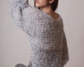 Boho Gray sweater, knit poncho, grunge clothing, women tailcoat, winter knitwear, long dolman sleeves, silver fluffy jumper, sparkly pull