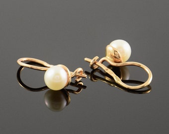 Pearl earrings, Gold earrings, Women earrings, 14k gold earrings, White pearl earrings, Small earrings, Tiny earrings, Cute earrings