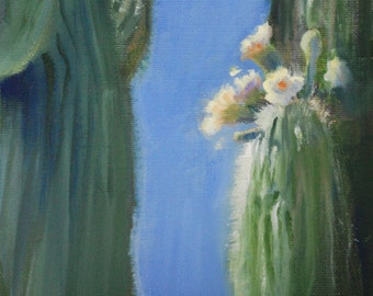 Flowers Painting, Oil Painting, Original Painting, Oil Paintings, Original Paintings, Small Painting, Cactus, Oil on Canvas Art, Sue Whitney
