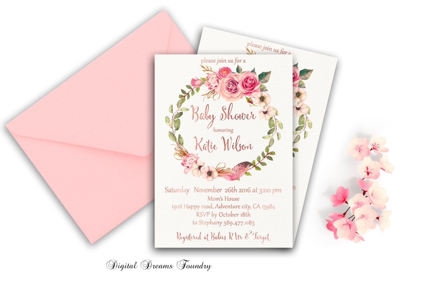 boho baby shower invitation floral baby by digitaldreamsfoundry