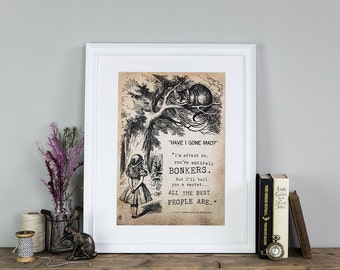Alice In Wonderland Wall Art Print - Gifts For Friends - Bonkers - Gifts For Women - Gifts For Her - Birthday Gifts - Literary Gifts