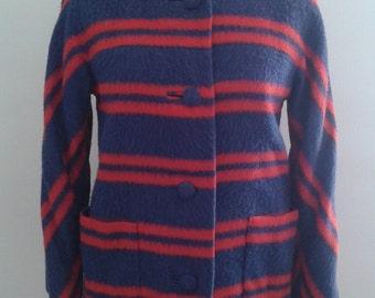 Vintage 1960's Imperial Fuzzy Blue Red Striped Jacket Mod Twiggy
