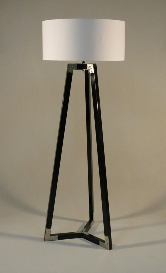Handmade tripod floor lamp wooden stand in glossy by for Wooden floor lamp etsy
