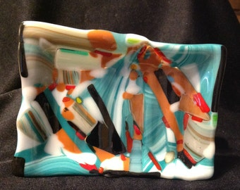 Fused Glass Soap Dish - in Turquoise, Orange, Black & White Stacked Colors