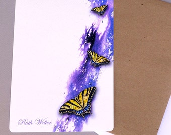 Personalized Note Cards, Flat Note Cards, Thank You Cards, Custom Card Set, Note Card Set With Envelopes, Letter Set, Swallowtail Butterfly