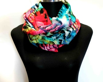 Loop scarf ammonite - colorful scarf - turquois scarf - fabric scarf - prehistoric scarf - infinity scarf - fractal scarf - gaudy scarf