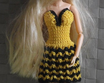 "Hand Knitted ""Bee"" dress for Momoko / Dynamit girls / monster Z"