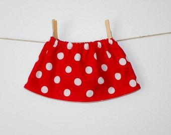 Baby Girl Skirt, Polka Dot Skirt, Red, White, Polka Dot, Newborn Skirt