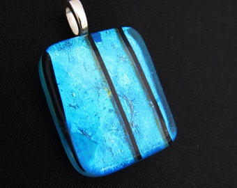 Teal contrast - Beautiful handmade fused dichroic glass pendant with a silver plated bail