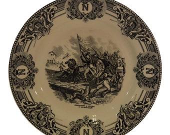 Napoleon Bonaparte in Arcole Picture - French Antique Boch la Louvière Faience Dinner Plate - Battle Bridge Arcole