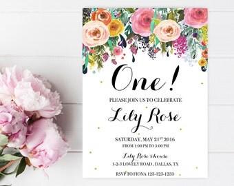 Floral Birthday Invitation Baby Birthday Invitation Printable Birthday Invite Birthday invites for girls Watercolor Birthday Printables