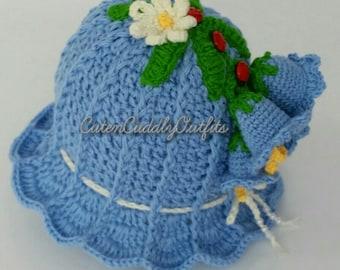 Bluebells hat, Crochet baby hat pattern, Crochet Cloche Hat, newborn hat/ beanie pattern, baby girl beanie, baby girl hats, baby shower