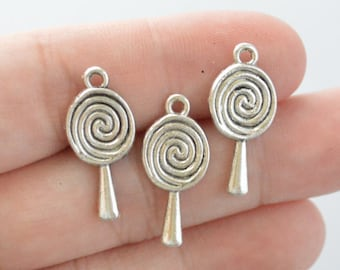6 Pcs Lollipop Charms Antique Silver Tone 24x11mm - YD0940