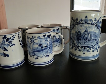 Delft Blue hand painted blue and white pottery mugs. Delft Blue Stein