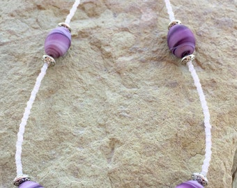Pretty purple necklace, swirled glass bead necklace, statement necklace, seed bead necklace, stelring silver necklace, gift for her