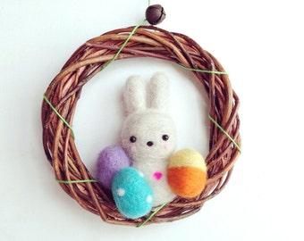 Easter Wreath White Bunny Needle Felted White Bunny Easter Wreath Felted Eggs Wreath Spring Wreath Easter Home Décor needle felted animal