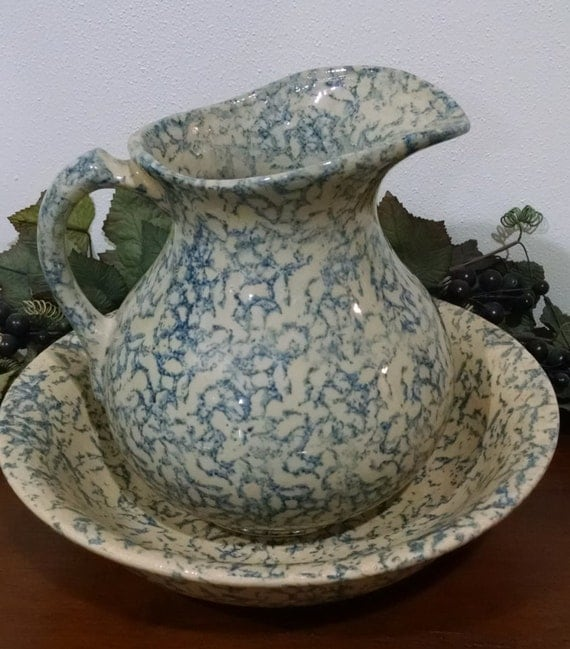 Sponge Ware Pitcher And Bowl Robinson Ransbottom Pottery