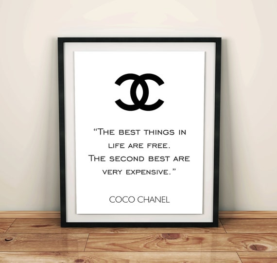 Handmade decor coco chanel poster coco chanel logo by for Best home decor quotes