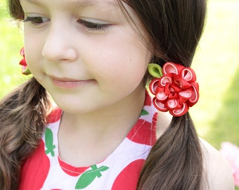 2 ponytail holders First day of school Gift-for-girl Gift|for|kids Red hair tie Kanzashi fabric flower set Baby hair accessory Pigtail bows