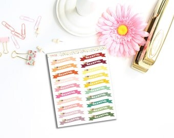 Weekend planner stickers | Weekend banner stickers | Weekend floral stickers | Rainbow stickers | Functional stickers | Cute stickers