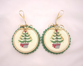 Duo of Cross-Stitch Christmas Tree Decorations