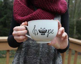 christian mug, spiritual mug, white mug, soup mug, large mug, mugs, hope mug, minimalist mug, cute mug, butterfly mug, hand painted,