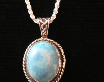 Turquoise, Sterling Silver Pendant, Braided Silver, Blue Turquoise, Turquoise Pendant,