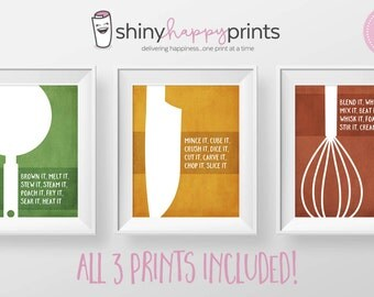 SET OF 3 Kitchen Wall Art Digital Print, Instant Download Kitchen Decor Pack, 8x10 Art, Gift for Cook Chef, Shiny Happy Prints