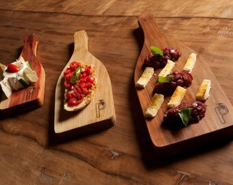 Set of three wooden cutting boards handmade bottle