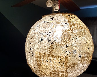 Pendant light from vintage crochet doilies