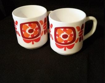 Pair of Retro 1960s Mobil Mugs - Milk Glass Pair of Retro Mugs - French Vintage Milk Glass Cups