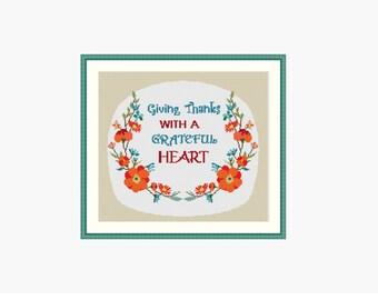 Thanksgiving cross stitch pattern, Happy thanksgiving, Thanksgiving decor, Give thanks, Floral cross stitch, Cross stitch pattern, PDF