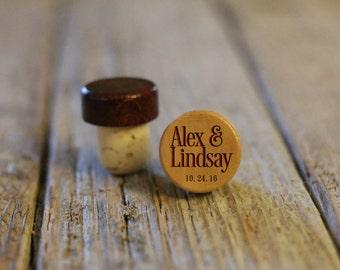 BEST PRICE ** Lot of Personalized Custom Wine Stopper, Laser Engraved Cork Bottle Topper Reusable Rustic Wedding Favor --WS-L-AlexandLindsay