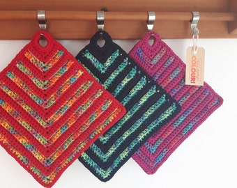 Set of 2 crochet potholders - cotton - various colours