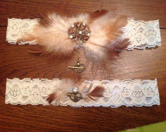 Wedding Garter  Feathers and Jewels handmade