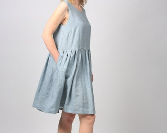 Linen tunic over jeans / Simple linen dress / Casual linen dress in gray / Oversized linen dress / Dress for women / Summer linen dress /