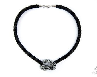 Seed bead crocheted  necklace / Beaded rope / Black and silver choker / OOAK necklace / Necklace with a knot