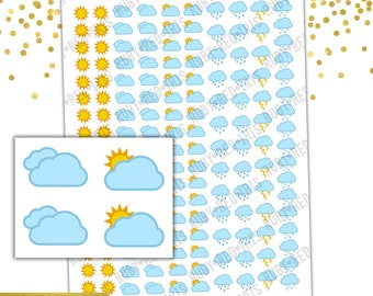 Weather Trackers | PRINTABLE Planner Stickers | Pdf, Jpg, Silhouette Studio V3 Format | ECLP Vertical Planner Stickers