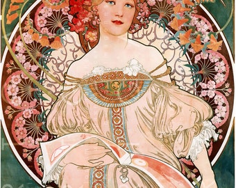 SPECTACULAR MUCHA Illustration. Mucha's Art Nouveau LADY. Digital Mucha Download. 1900's Paris Bookstore Ad Poster.