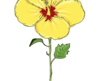 A beautiful yellow hibiscus print