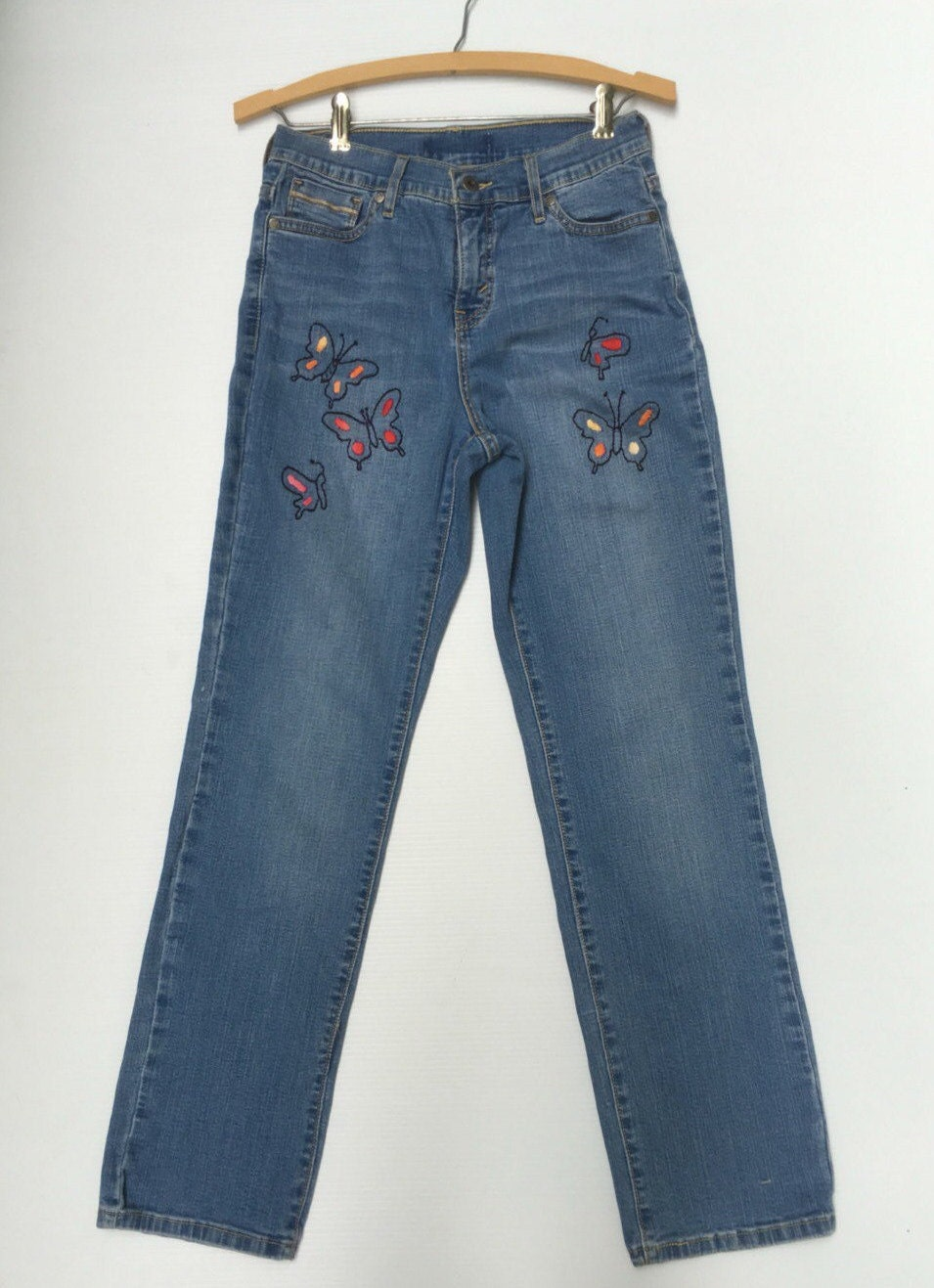 Size embroidered denim levi jeans by savingmyvintageheart