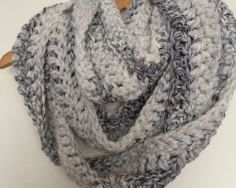 White and Grey Crocheted Chunky Infinity Scarft