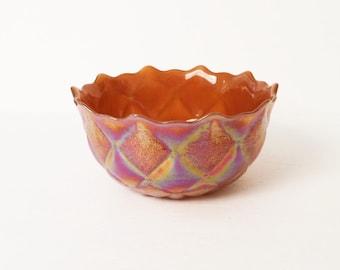 Carnival Glass Bowl Marigold Orange, Medium size