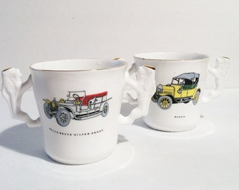 Vintage Rolls Royce Car Mugs, Bone China  two handle Cups, Antique Cars, Made in England