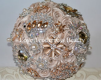 Brooch Bouquet, Unique Wedding Bouquet, Champagne and Gold Wedding Bouquet, Silver Bridal Bouquet, Jewelry Bouquet, Beige Bouquet
