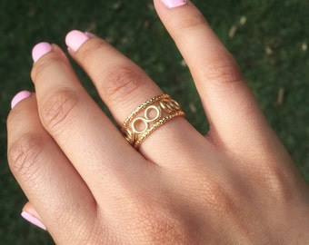 Infinity Ring Set, Dainty Ring, Stackable Ring, Textured Ring , Three Ring Set, Bridesmaid Ring - Gold