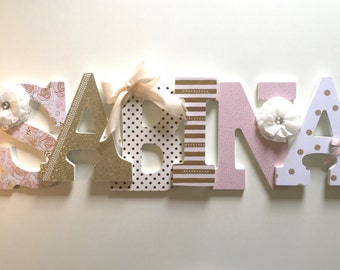 Pink nursery letters, pink name letters, girls pink letters, pink wall letters, pink nursery decor, light pink letters, blush letters