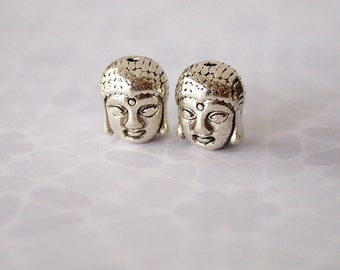 4 Metal Buddha Beads Antique Silver Tone Size 11 x 9mm