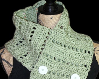 Green Scarf, Light Green Button Scarf, Light Green Button Neck Warmer, Light Green Button Scarflet, Light Green Button Cowl, Winter Scarf
