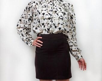 Vintage plaid floral blouse M L